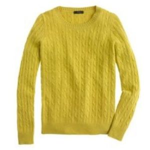 J. Crew Mustard Yellow Cambridge Cable Sweater
